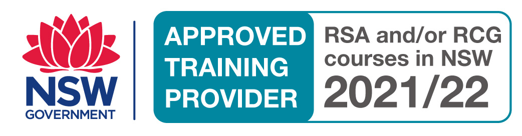 """NSW Government logo with the words """" Approved Training Provider, RSA and/or RCG courses in NSW 2021/22"""""""